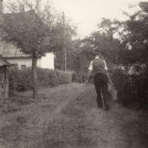 Photo:About 1947, Tom Bescoby carrying water from the Orchard dip well